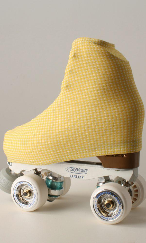 Funda patín cuadrados amarillo/blanco