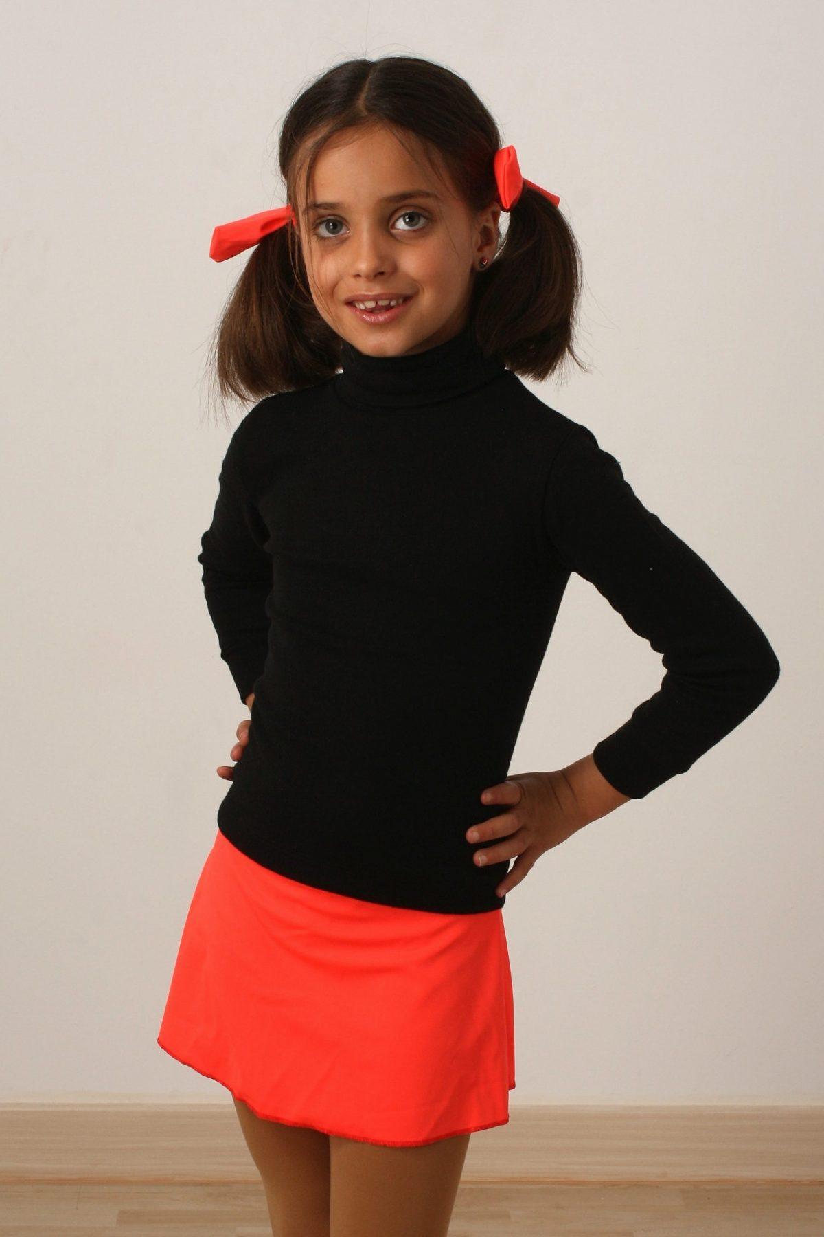 Falda Lisa Naranja Fluor Oscuro