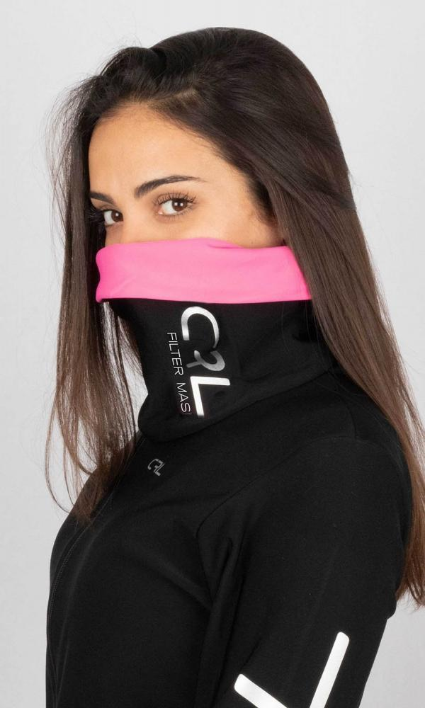 Braga Cuello Filter Mask Thermolite Rosa y Negro